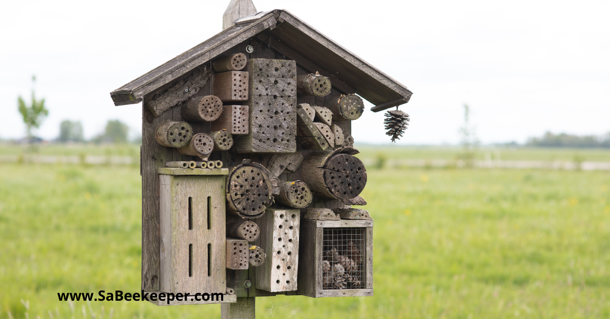 Another bee hotel made out of older wood and placed on a stand in a field