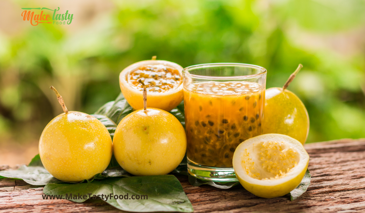yellow passion fruit juice and seeds